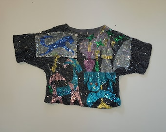 Vintage Woman's Sequin Top, Size: M