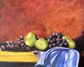 Painting - Still Life with Pears and Grapes - Oil on Canvas