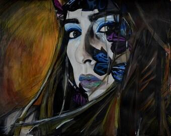 Female portrait, Woman, Modern Portrait, butterflies