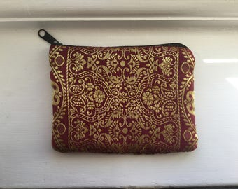 Indian red & gold money purse