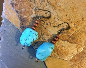 Turquoise Stone and Wooden Beaded Earrings