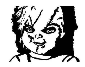 Chucky Childs Play Horror Vinyl Car Decal Bumper Window Sticker Any Color Multiple Sizes