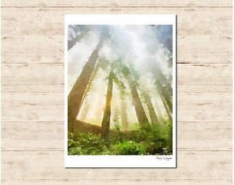 Trees Watercolour Painting Postcard Poster Art Print Q92