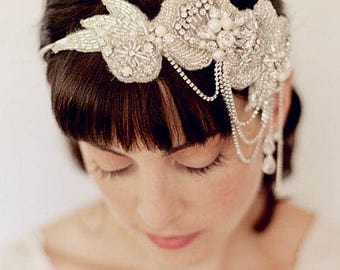Crystal applique ribbon head band