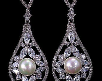Crystal and pearl bridal drop earrings