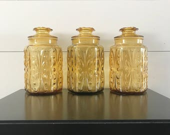 Imperial Glass Atterbury Scroll Canisters -Vintage Amber Glass Jars With Lid -Set of 3 -Mid Century Modern