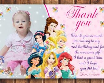 Disney Princess thank you card, Disney Princess card, Princess thank you card, disney princess thank you card digital -digital b