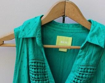 Anthropologie Emerald Lace Shirt Dress