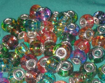 ON SALE: European style Murano glass beads, large hole, spray paint style