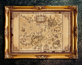 Harry Potter World Map, Hogwarts Map, The Wizarding World of Harry Potter, The Marauder's Map Hogwarts, Theme Park Map, Wall Art, Home Decor