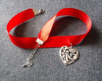 Silver Heart Choker with Red Ribbon
