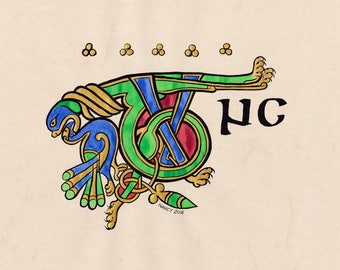 Celtic medieval illumination of a from the book of Kells, original painting TUNC