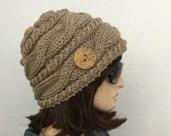 Women Knit Hat Taupe Cable Hat With Button Winter Women Hat Womens Accessories Fall Fashion