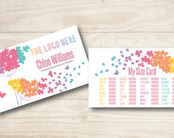 Flowers Business card//fashion Retailer size card//Lularoe My Size Card