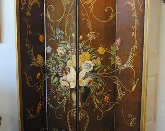 Refurbished Floral Folding Screen