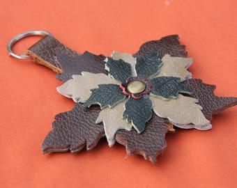 Leather Poinsettia Key ring / Bag Charm