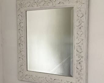 White Shabby Chic Distressed Mirror