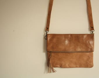 Brown Clutch, Brown Handbag, Fold Over Clutch, Foldover Clutch, Leather Handbag, Leather Clutch, Vintage Brown Clutch, Clutch Crossbody