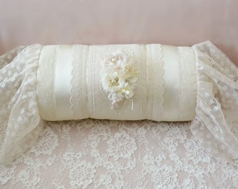 "Beautiful Lace Roll Pillow Hand Sewn by Pamela ""Nostalgia"""