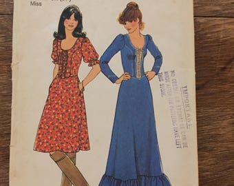 "Vintage 70's - Simplicity 7327 Prairie Dress.  Bust size 38"""