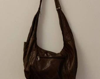 Vintage Made in Mexico Brown Genuine Leather Crossbody Hobo Bag
