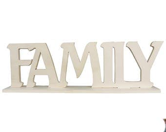 Wooden inscription Family cm L 38x 11 h thickness 8 mm with base