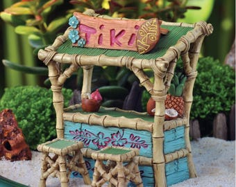 Fairy Garden Dollhouse Miniature Tiki Bar with Stools