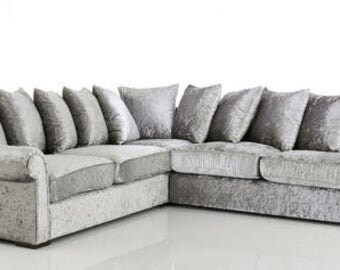 Liverpool Corner Crushed Velvet Silver Sofa | 1 Year Warranty | Spring Base | Available in Different Colors