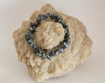 Bracelet chip Obsidian flakes of snow