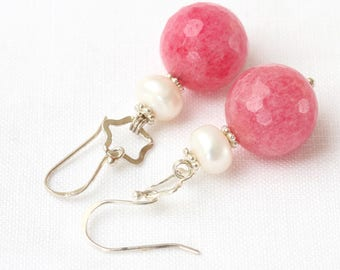 Faceted Strawberry Quartz Beads Earrings, Pink Quartz Earrings, Pink Stone Earrings, Pink Dangling Earrings, Cherry Quartz Drop Earrings