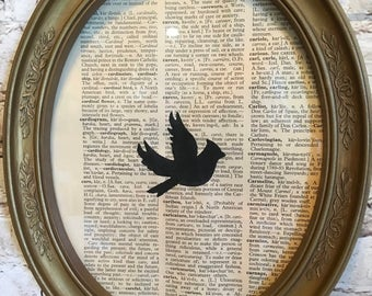 Hand Stenciled Cardinal on a Vintage Dictionary Page in a Vintage Frame