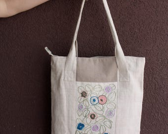 Tote bag, embroidered by hand, originally designed, summer, spring, one of kind