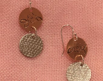 Mixed metal hand stamped earrings