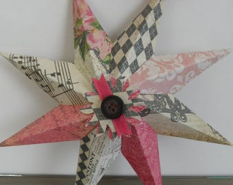 Decorative Paper Star: Vintage Chic with the bold balck and hot pink color combintation