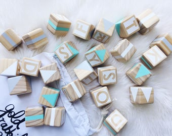 Wooden Alphabet Set - Green, Grey and White