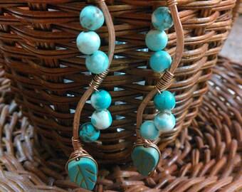 Copper wire wrapped dangle earrings