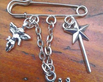 Silver-plated Kilt Pin Brooch, Fairy Princess