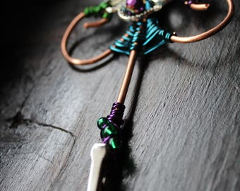 Handmade Copper Wire-wrapped Roach/ Cigarette Clip, Octopus, colorful wire