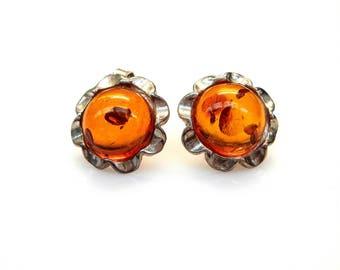 Sterling Silver Round Cut Amber Flower Design  Earrings
