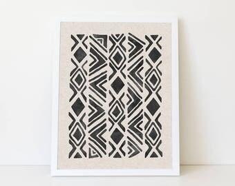 Tribal Geometric Digital Print, Aztec Printable Download, Mudcloth Art Print