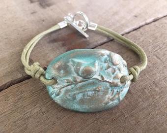 Ceramic Kiln Fired Patina Bird on Branch Bracelet