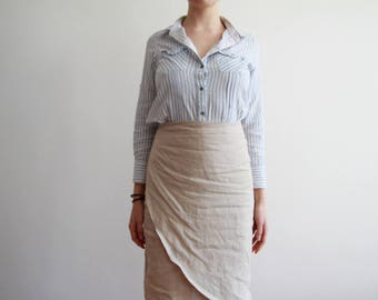 100% Beige linen wrap skirt - custom