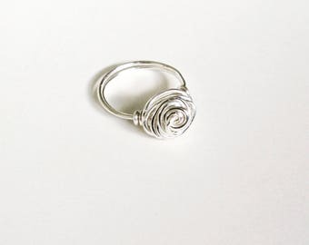 Sliver Plated Rose Wire Ring