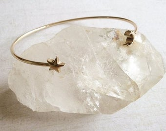 Moon And Star Split Stacking Bangle, Boho Bracelet, Silver Or Gold