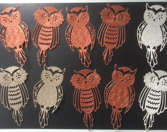 5 x twin sets of tattered lace Owl die cuts