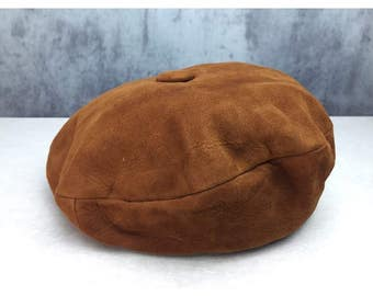 VINTAGE LEATHER French Style 1970s Beret Hat