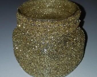 Gold glitter mason jar centerpiece