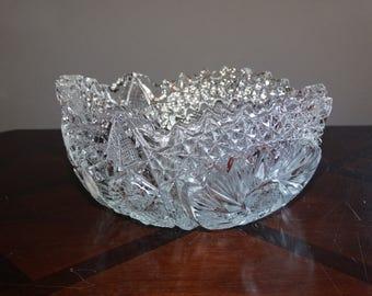 Vintage Cambridge Glass Co. Buzzsaw Glass Bowl
