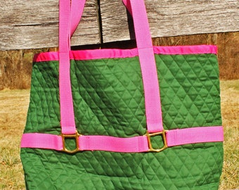 Quilted cotton large halter tote bag