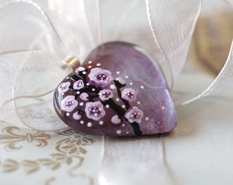 Roses Pink - Hand painted - Handmade - Flower - Black - Heart - Glass - Pendant - Jewelry - Silver - Unique